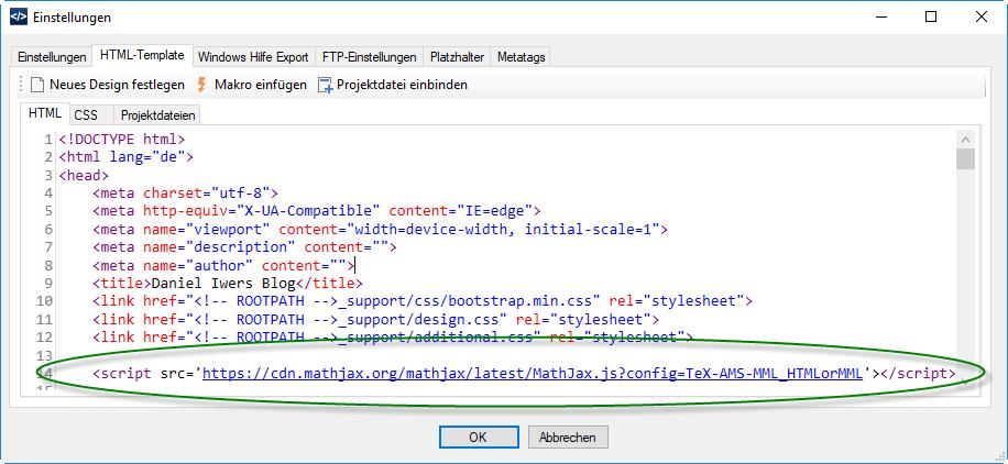 Bild für Einstellungen zum HTML-Template im DA-HelpCreator
