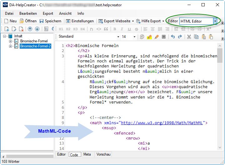 DA-HelpCreator MathML Formel einfügen mittels HTML-Editor
