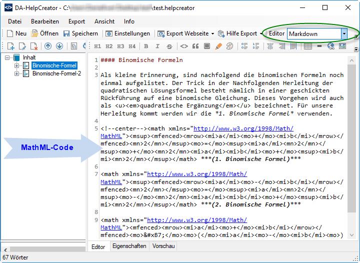 DA-HelpCreator MathML Formel einfügen mittels Markdown-Editor