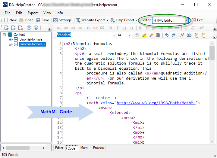 Screenshot Inserting a MathML formula using the HTML Editor