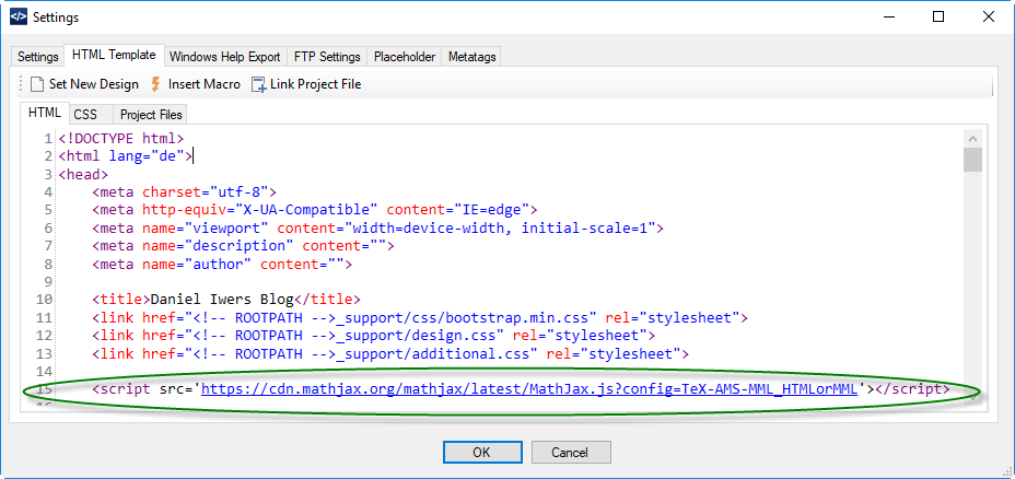 Image for HTML template settings in DA-HelpCreator