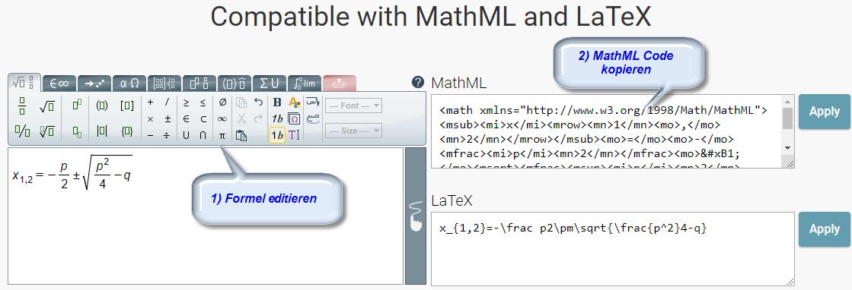 MathML-Editor von Wiris.com